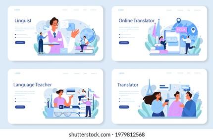 Translator web banner or landing page set. Linguist translating document, books and speach. Multilanguage translator using dictionary, translation service. Isolated vector illustration