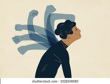Translucent ghostly hands beating man. Concept of psychological self-flagellation, self-punishment, self-abasement, self-harm guilt feeling. Colorful vector illustration in modern flat style.