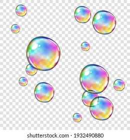 Translucent rainbow-colored soap bubbles, isolated on transparent background, easy to edit, 10 EPS