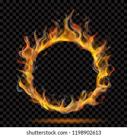 Translucent ring of fire flame with smoke on transparent background. For used on dark backdrops. Transparency only in vector format