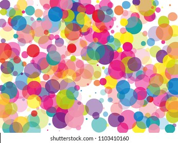Translucent transparent multi-colored bubbles, confetti, circles with overlapping. Bright, cheerful background. Vector illustration for creating holiday backgrounds, posters, invitation banners