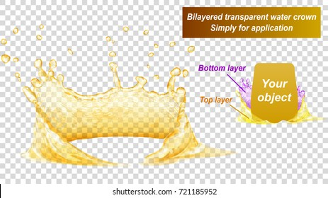 Translucent water crown consist of two layers: top and bottom. Splash in yellow colors, isolated on transparent background. Transparency only in vector file