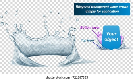 Translucent water crown consist of two layers: top and bottom. Splash in gray colors, isolated on transparent background. Transparency only in vector file