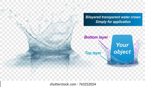 Translucent water splash crown with reflection consist of two layers: top and bottom. In gray colors, isolated on transparent background. Transparency only in vector file