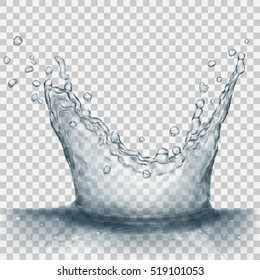 Translucent water splash in gray colors, isolated on transparent background. Transparency only in vector file