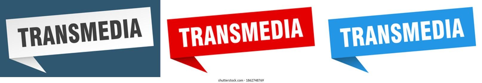 transmedia banner sign. transmedia speech bubble label set