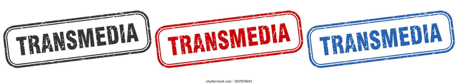 transmedia square isolated sign set. transmedia stamp