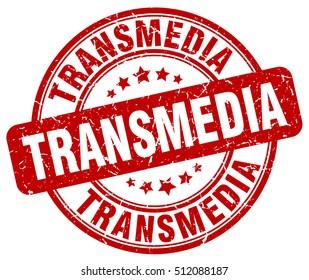 transmedia stamp.  red round transmedia grunge vintage stamp. transmedia
