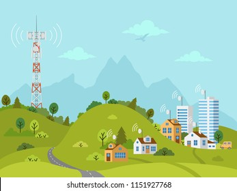 Transmission cellular tower on landscape. Wireless radio signal connection with houses and buildings through obstacles. Mobile communications tower with satellite communication antennas.