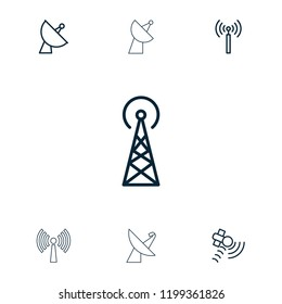 Transmission icon. collection of 7 transmission outline icons such as signal tower. editable transmission icons for web and mobile.