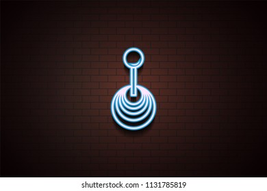 Transmission icon in Neon style on brick wall on dark brick wall background