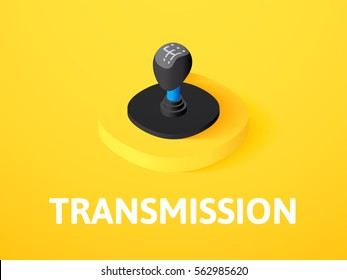 Transmission icon, vector symbol in flat isometric style isolated on color background