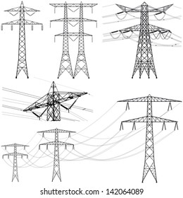 Transmission tower collection - vector silhouette illustration