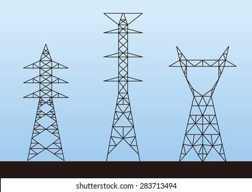 Transmission tower (electricity pylon) illustration