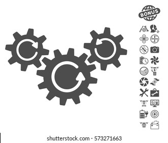 Transmission Wheels Rotation pictograph with bonus quad copter tools pictograms. Vector illustration style is flat iconic symbols on white background.