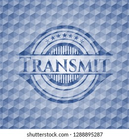 Transmit blue hexagon badge.