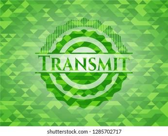 Transmit realistic green mosaic emblem