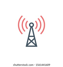 Transmitter antenna communication Tower Icon, Wifi of Cell Phone connection. Cell Phone Tower Icon Isolated on White Background