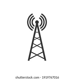 Transmitter antenna icon. Broadcast tower symbol. Wireless technology equipment. Vector isolated on white