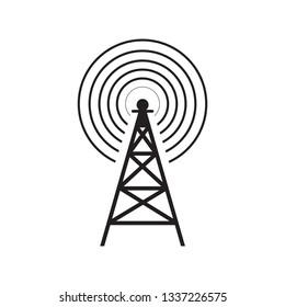 Transmitter icon, radio station sign vector.