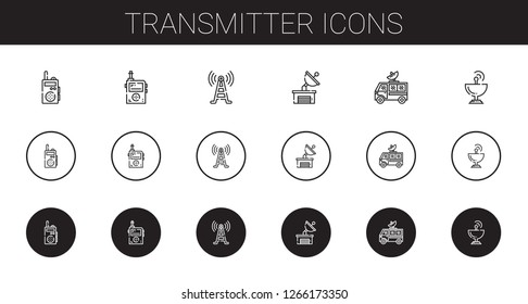 transmitter icons set. Collection of transmitter with walkie talkie, signal tower, satellite dish. Editable and scalable transmitter icons.