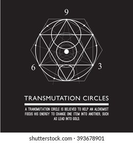 Transmutation circles - alchemical symbol - sacred geometry - can be used in your design - the art of tattooing - the design of logos - corporate identity - as a poster or a badge. Black background