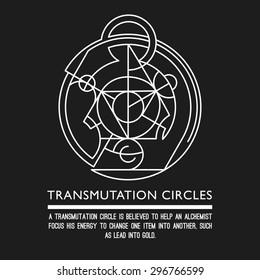 Transmutation circles - clock - sacred geometry - stock vector