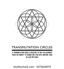 Transmutation circles. Line art. Alchemical abstract symbol. Sacred geometry. White background. Stock vector.