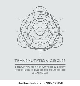Transmutation circles. Line art.  Alchemical abstract symbol. Sacred geometry. Grey background. Stock vector.