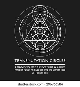 Transmutation circles - space gate - sacred geometry - stock vector