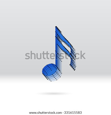 Transparent 3 D Music Note Dotted Wire Stock Vector Royalty Free