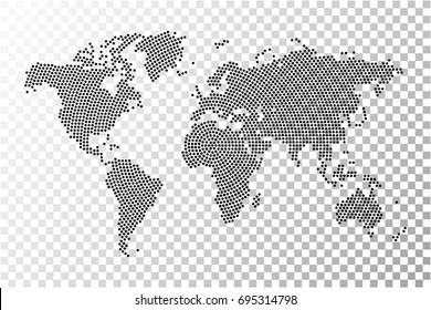 Transparent - abstract world map radial dot planet, lines, global world map halftone concept. Vector illustration eps 10.