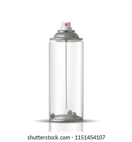 Transparent aerosol spray can. Vector illustration for your presentation.