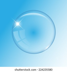 Transparent air bubble on the blue background vector