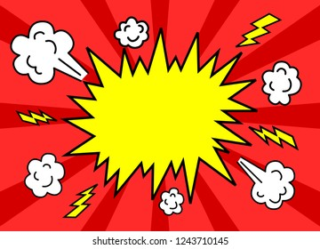 Transparent Background with Boom comic book explosion vector design pattern. speech bubbles. Price tag. Pop art. text box.