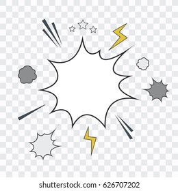Transparent Background with Boom comic boom explosion. Vector design pattern. Flat Design.