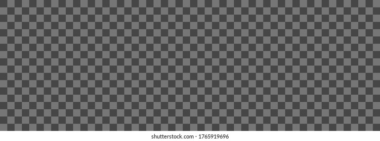 Transparent background. Dark checkered seamless pattern. Vector horizontal template for design backdrop. Gray squares isolated on white background
