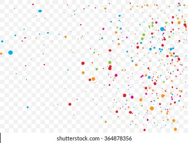 Transparent background with many falling tiny round random confetti, glitter and serpentine pieces blow and sprayed on transparent background. Isolated.