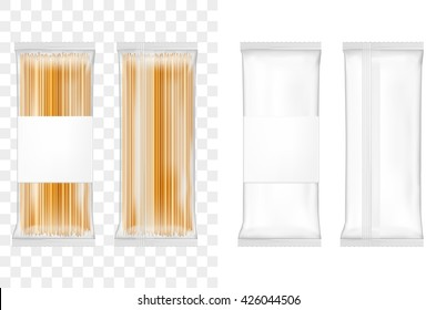 Transparent bag for spaghetti, macaroni, pasta. Vector white soft packing.