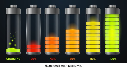 Transparent batteries charge status. Realistic mobile phone interface battery