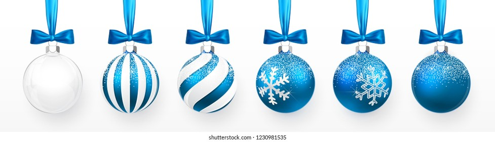Transparent and Blue Christmas ball with snow effect and blue bow set. Xmas glass ball on white background. Holiday decoration template. Vector illustration.