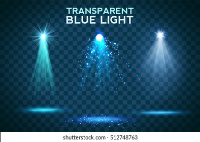 Transparent blue ligthy effects on a dark background. Spotlights, flare, explosion and stars. Vector
