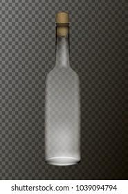transparent bottle with cork, vector