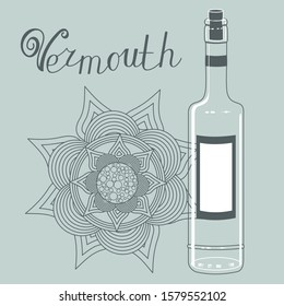 Transparent bottle with a label and a cork on a gray isolated background with the inscription Vermouth and an abstract flower, vector clip art