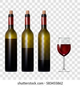 Transparent Bottle With Red Wine And Glass. EPS10 Vector