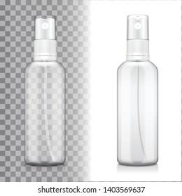 Transparent bottle set with atomizer on white and transporent background. Mock up bottle cosmetic or medical vial, flask, flacon 3d illustration for your design