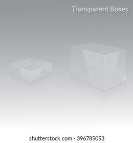 Transparent boxes in perspective. Box template. Box blank. Plastic product. Plastic glass box. Container box 3d isolated. Vector illustration, eps 10