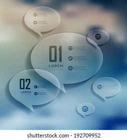 Transparent bubble, Infographics on blur landscape can be used for workflow layout, banner, step up options,  number options,  web template