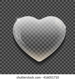 Transparent bubble in the shape of the heart on transparent background