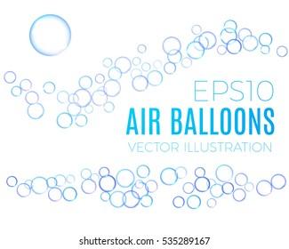 Transparent Bubbles Wave Set. Vector illustration